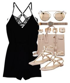 """""""Outfit with a romper for summer"""" by ferned on Polyvore featuring ELSE, Wilfred, Yves Saint Laurent, Forever 21, Valentino, Witchery and Christian Dior"""