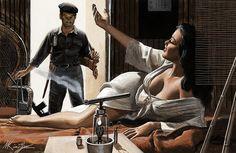 MORT KÜNSTLER (American b. Come On In, Male story illustration, circa 1960 Gouache on board 8 x 12 in. Pulp Fiction Art, Pulp Art, Male Stories, Adventure Magazine, War Comics, Pulp Magazine, Girl Inspiration, Male Face, Erotic Art