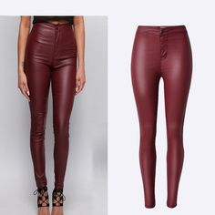 High-Waist Pants Wine Red PU Leather Skinny Pencil Full-Length Coated Pants Stretchable Fashion Butt Lift Sexy Women Pants  #Affiliate