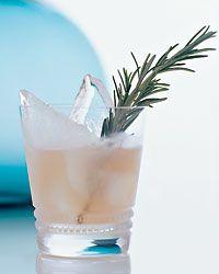 Ice 2rosemary sprigs 1ounce peach nectar 1ounce white cranberry juice 1/2ounce fresh lemon juice 1/2ounce Simple Syrup 1ounce chilled club soda