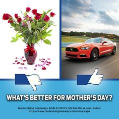 Happy Mother's Day to all those mothers out there that raised us to love driving Ford Mustangs! Enter for your chance to WIN a Ford Mustang for your mom instead
