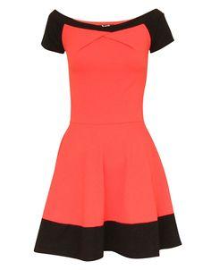 CORAL PINK CONTRAST PANELED OFF SHOULDER DRESS £ 6.95