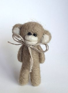 Felt MIniature Monkey Needle felted Monkey brooch Felt by VoDi