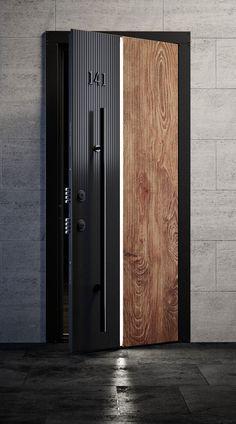 Wooden Door Design, Main Door Design, Wooden Doors, Contemporary Front Doors, Modern Door, Door Design Interior, Apartment Interior Design, Hotel Bedroom Design, Door Signage