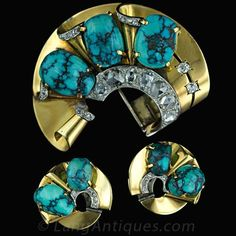 Retro French 18 K Yellow Gold and Platinum Turquoise and Diamond Brooch and Earring Suite.