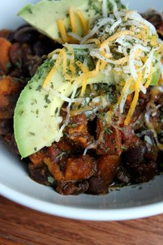Spicy Sweet Potato and Black Bean Chili with Avocado