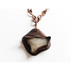 rustic handmade pendant, irregular white rough stone copper wrapped,... (€39) via Polyvore featuring jewelry, pendants, copper pendant jewelry, white pendant, white stone jewelry, charm pendant und copper jewelry