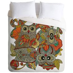 DENY Designs Four Owls Button-Snap Duvet Cover ($70) ❤ liked on Polyvore featuring home, bed & bath, bedding, duvet covers, deny designs bedding, deny designs and owl bedding