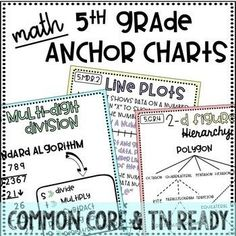 Are you tired of writing and making Anchor Charts before each standard. These anchor charts solve that problem! You just have to print and laminate, and you have a great reference for your students to use! Multiplication Anchor Charts, Math Charts, Math Anchor Charts, 5th Grade Activities, 7th Grade Math, Math 5, Teaching Math, Teaching Ideas, Teaching Resources