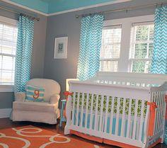 Patterned Pops of Color - Modern Nursery Trend Watch: Gray & Teal | Disney Baby