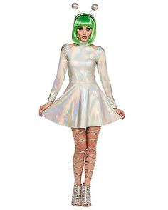 Find scary-good deals on the Halloween Dresses you need to complete your costume look. Remember: No one does Halloween better than Spirit. Girl Alien Costume, Alien Halloween Costume, 2017 Halloween Costumes, Purim Costumes, Halloween Outfits, Spirit Halloween, Space Girl Costume, Allien Costume, Outer Space Costume