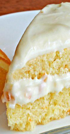 Orange Buttermilk Cake with Orange Cream Cheese Frosting - torte - Torten No Bake Desserts, Just Desserts, Delicious Desserts, Yummy Food, Baking Recipes, Cake Recipes, Dessert Recipes, Frosting Recipes, Muffins