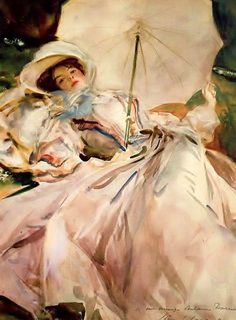 Lady with Parasol 1900, watercolor, Abbey of Montserrat    John Singer Sargent   American Painter   1856-1925