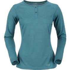 Rab Women's MeCo 140 Long Sleeve Zip Tee (325 BRL) ❤ liked on Polyvore featuring tops, t-shirts, capri, blue tee, long sleeve henley t shirt, henley tee, zipper tee and long sleeve tops