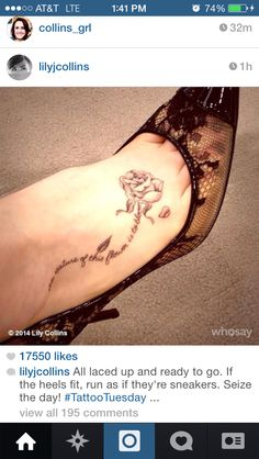 I want this rose. Lily Collins tattoo