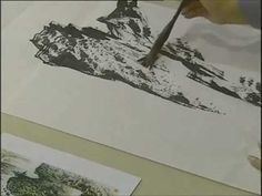 Chinese painting waterfall & rock for beginners (1/5)