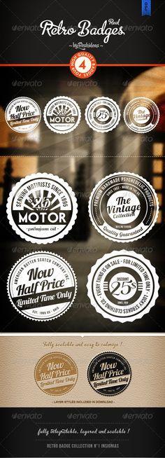 Retro Badges - Insignias - GraphicRiver Item for Sale