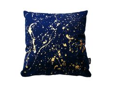 goldsplash splash gold blue blue and gold pillow pillowcase cushion cushioncover pillowcover cape town slow fashion south african design handmade handprints cotton african decor decoration homeandliving