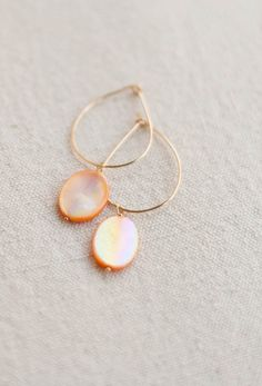 SOLD - Koi Luster Gold Artisan Hoop Earrings - Handmade 14k Gold filled, hammered and shaped.  Classic. Timeless. The natural stones can be easily removed and classic hoops worn alone. Two sets of earrings in one!  More options in my Etsy Shop!