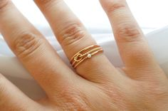 Stack Set Pearl Ring Knot Ring 3 Thread of by BlueRidgeNotions