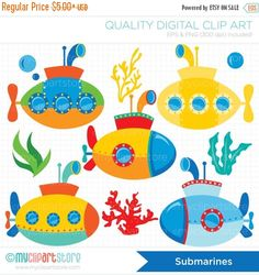 ON SALE - Submarine / Under The Sea / U-boat Clip Art / Digital Clipart - Instant Download