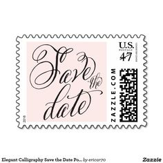 Elegant Calligraphy Save the Date Postage