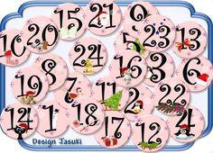 Adventskalenderzahlen - 24 Button rosa,Adventszahlen, Adventskalender - ein Designerstück von jasuki bei DaWanda