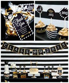 Black + Gold Glamorous Graduation Party via Kara's Party Ideas KarasPartyIdeas.com (3)
