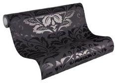 Die glänzenden Ornamente auf dieser schwarzen Vliestapete setzen Deine Wände gekonnt in Szene.
