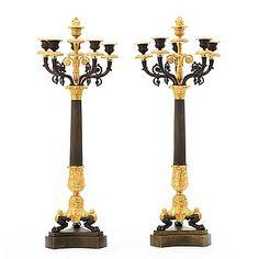 KANDELABRAR, för sex ljus, ett par, Frankrike, 1800-tal. Empire.