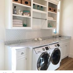 Weekend laundry room inspiration from Mudroom Laundry Room, Laundry Room Remodel, Laundry Decor, Laundry Room Organization, Laundry Room Design, Laundry In Bathroom, Laundry Room Shelving, Laundry Room Countertop, Hallway Storage