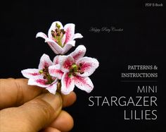 Inside youll find a crochet pattern for these adorably elegant mini Stargazer Lilies. This little blossoms are very versatile and can be made with a stem or without, making them ideal for small decor, doll accessories, or as a small appliqué for hair accessories or jewellery.  The crochet flower pattern include diagrams, instructions (in American standard terms) and detailed step by step photo guides that will show you how to crochet this flower.   ❀ Finished size : Following the…