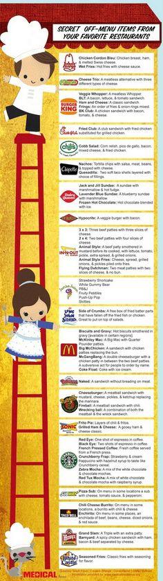 Secret off-menu items at fast food restaurants. yummy-things amazing-food foodstuff-i-love mystic-scripts Fast Food Restaurant, Menu Restaurant, Restaurant Recipes, Menu Desserts, Cheesecake Desserts, Raspberry Cheesecake, Smoothies, Bridal Shower Menu, Gastronomia