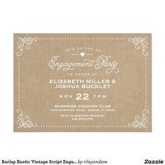 Burlap Rustic Vintage Script Engagement Party