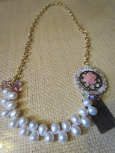 Mothers Necklace Vintage Hand Stamped with Pearls by RipsDesigns, $30.00