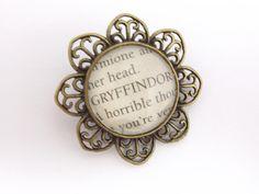 Harry Potter bronze literary spell brooch 'Gryffindor'. £8.00, via Etsy.