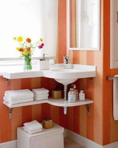 This Vanity Is Only About Half As Wide As The Sink, Allowing A Wider  Walking Path And Helping The Whole Bathroom Seem Just A Bit Wider.  Descriptionu2026