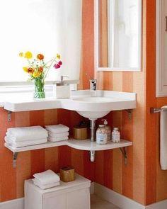 corner sink small bathrooms | Corner Bathroom Sinks Creating Space Saving Modern Bathroom Design