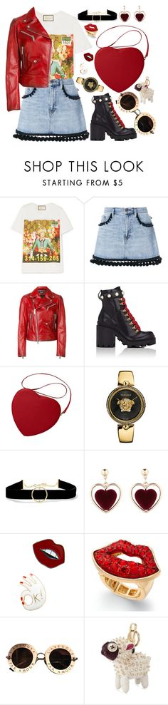 """My Fave T"" by khriseus ❤ liked on Polyvore featuring Gucci, Marc Jacobs, Dsquared2, Versace, Anissa Kermiche, Thalia Sodi, Burberry and MyFaveTshirt"