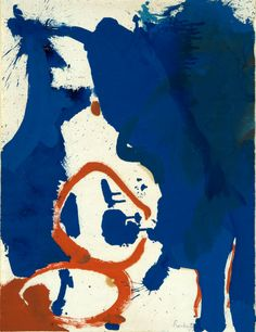 Helen Frankenthaler, Abstract Composition in Red and Blue, 1959. Poster paint.  20 1/4 x 15 1/2 in. (51.4 x 39.4 cm). Grunwald Center for the Graphic Arts, UCLA.