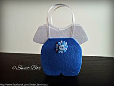 Blue/White Baby Jumper Bag favor box, baby shower party favors