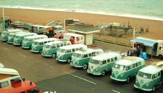 A row of matching VW Vans.