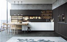 aménagement cuisine avec des armoires de rangement blanches et tapis graphiste Plus Form