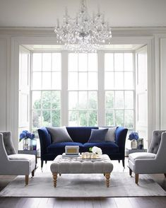 Are you looking for a fabric that never fails to impress? Meet our popular Prussian Blue pure cotton matt velvet, a practical and versatile… Blue Velvet Sofa Living Room, Blue And White Living Room, Blue Living Room Decor, Classic Living Room, Home Living Room, Blue Living Room Furniture, Living Room Ideas Navy Sofa, Formal Living Rooms, Grey Velvet Sofa
