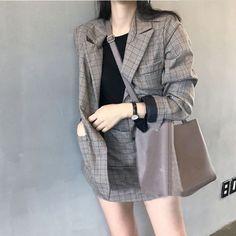 初秋ファッションチェック二点セットアップスカート+ジャケット