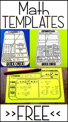 Free math templates Free math templates, mainly for algebra and algebra 2 that can also be used in middle school math classes. I love these free printables to use as warm ups, closers and quick checks in class. They can be slipped into sheet protectors to Algebra Activities, Maths Algebra, Math Resources, Teaching Math, Algebra Projects, Math Math, Math Fractions, Kindergarten Math, Math Games