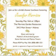 Sunflower Celebration Bridal Shower Invitation