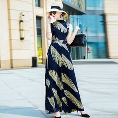 New Plus Size Jumpsuits Women Summer Fashion Golden Leaves Print Sleeveless Straight Wide Leg Full Length Long Jumpsuit Long Jumpsuits, Jumpsuits For Women, Women's Summer Fashion, New Fashion, Formal Jumpsuit, Plus Size Jumpsuit, Jumpsuit Pattern, Jumpsuit Outfit, Printed Jumpsuit