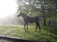 Heather Jansch Sculptor Bronze & Driftwood Horse Sculpture for sale