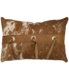 Gift Idea: Cowhide Pillow with Leather Ties… Rustic Chic, Rustic Decor, Family Room Walls, Wood River, Cowhide Pillows, Bedding Master Bedroom, Leather Pillow, Cow Hide, Southwest Style